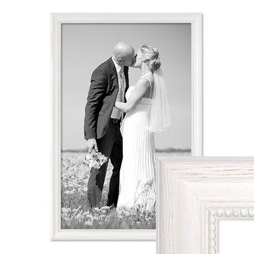 Bilderrahmen Landhaus-Stil Weiss 40x60 cm Massivholz mit Glasscheibe und Zubehör / Fotorahmen