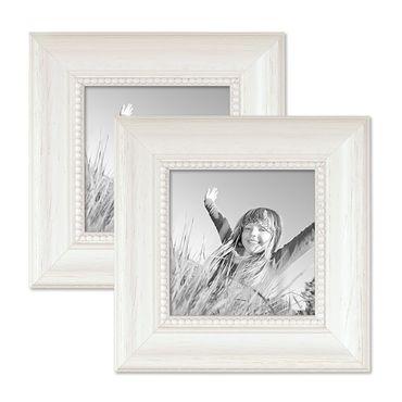 2er Set Bilderrahmen Landhaus-Stil Weiss 10x10 cm Massivholz mit Glasscheibe und Aufsteller und Zubehör / Fotorahmen