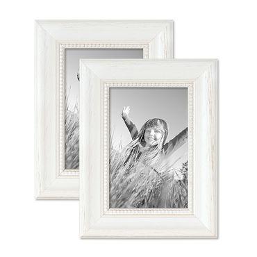 2er Set Bilderrahmen Landhaus-Stil Weiss 10x15 cm Massivholz mit Glasscheibe und Zubehör / Fotorahmen