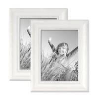 2er Set Bilderrahmen Landhaus-Stil Weiss 13x18 cm Massivholz mit Glasscheibe und Zubehör / Fotorahmen