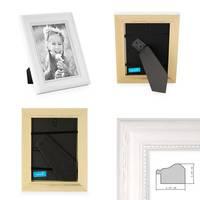 2er Set Bilderrahmen Landhaus-Stil Weiss 15x15 cm Massivholz mit Glasscheibe und Aufsteller und Zubehör / Fotorahmen  – Bild 2