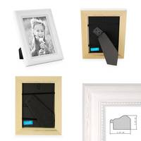 2er Set Bilderrahmen Landhaus-Stil Weiss 15x20 cm Massivholz mit Glasscheibe und Zubehör / Fotorahmen  – Bild 2