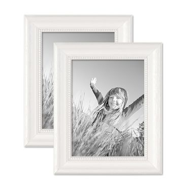 2er Set Bilderrahmen Landhaus-Stil Weiss 18x24 cm Massivholz mit Glasscheibe und Zubehör / Fotorahmen