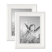 2er Set Bilderrahmen Landhaus-Stil Weiss 18x24 cm Massivholz mit Glasscheibe und Zubehör / Fotorahmen  – Bild 1