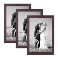 3er Set Bilderrahmen 20x30 cm Nuss Modern Massivholz-Rahmen mit Glasscheibe und Zubehör / Fotorahmen  – Bild 1