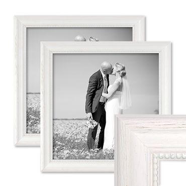 2er Set Bilderrahmen Landhaus-Stil Weiss 30x30 cm Massivholz mit Glasscheibe und Zubehör / Fotorahmen