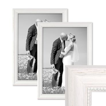 2er Set Bilderrahmen Landhaus-Stil Weiss 30x40 cm Massivholz mit Glasscheibe und Zubehör / Fotorahmen