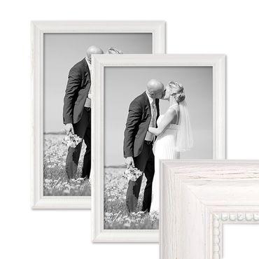 2er Set Bilderrahmen Landhaus-Stil Weiss 30x42 cm / DIN A3 Massivholz mit Glasscheibe und Zubehör / Fotorahmen