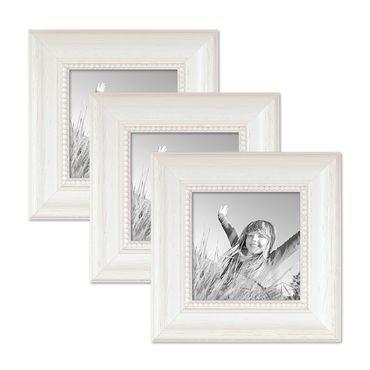 3er Set Bilderrahmen Landhaus-Stil Weiss 10x10 cm Massivholz mit Glasscheibe und Zubehör / Fotorahmen