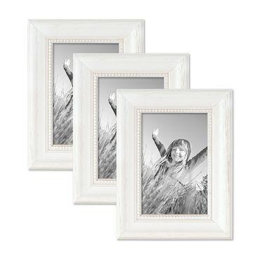 3er Set Bilderrahmen Landhaus-Stil Weiss 10x15 cm Massivholz mit Glasscheibe und Zubehör / Fotorahmen