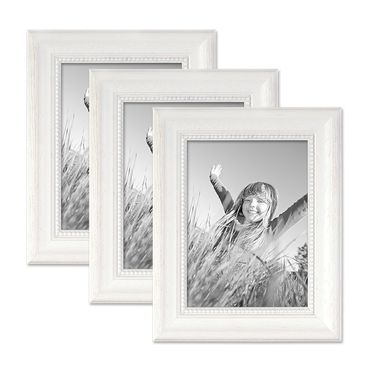 3er Set Bilderrahmen Landhaus-Stil Weiss 13x18 cm Massivholz mit Glasscheibe und Zubehör / Fotorahmen