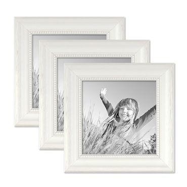 3er Set Bilderrahmen Landhaus-Stil Weiss 15x15 cm Massivholz mit Glasscheibe und Zubehör / Fotorahmen