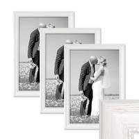 3er Set Bilderrahmen Landhaus-Stil Weiss 30x40 cm Massivholz mit Glasscheibe und Zubehör / Fotorahmen  – Bild 1