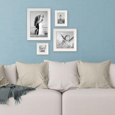 4er Set Bilderrahmen Landhaus-Stil Weiss, 10x10, 10x15, 20x20 und 20x30 cm, inkl. Zubehör / Fotorahmen
