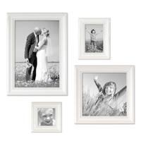 4er Bilderrahmen-Set Landhaus-Stil Weiss, je einmal 10x10, 10x15, 20x20 und 20x30 cm