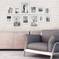 12er Set Bilderrahmen Landhaus-Stil Weiss 10x15 bis 20x30 cm inklusive Zubehör / Fotorahmen