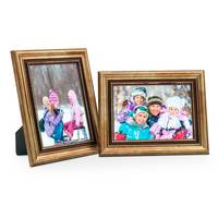 2er Set Bilderrahmen 13x18 cm Gold Barock Antik Massivholz mit Glasscheibe und Zubehör / Fotorahmen / Barock-Rahmen