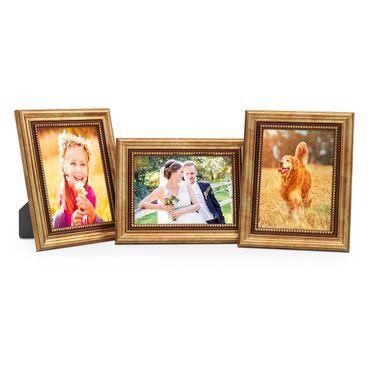 3er Set Bilderrahmen 10x15 cm Gold Barock Antik Massivholz mit Glasscheibe und Zubehör / Fotorahmen / Barock-Rahmen