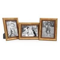 3er Set Bilderrahmen 10x15 cm Gold Barock Antik Massivholz mit Glasscheibe und Zubehör / Fotorahmen / Barock-Rahmen  – Bild 5