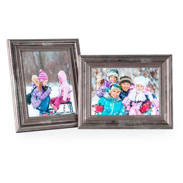Bilderrahmen 13x18 cm Silber Barock-Rahmen Antik Massivholz 2er Set