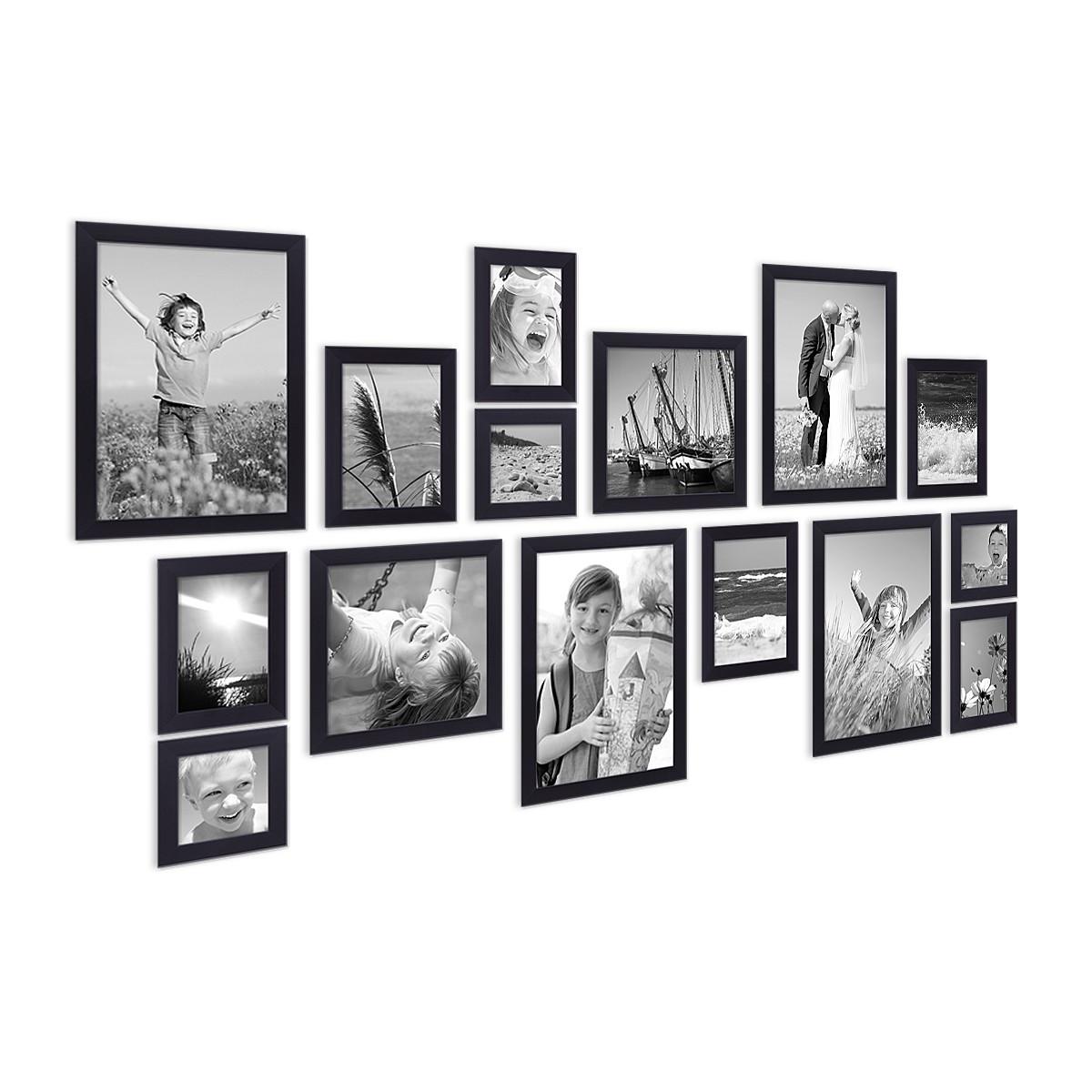 15er set bilderrahmen modern schwarz aus mdf 10x15 bis. Black Bedroom Furniture Sets. Home Design Ideas
