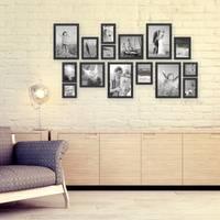 15er Set Bilderrahmen Modern Schwarz aus MDF 10x15 bis 20x30 cm inklusive Zubehör zur Gestaltung einer Collage / Bildergalerie
