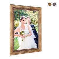 2er Set Bilderrahmen 20x30 cm Gold Barock Antik Massivholz mit Glasscheibe und Zubehör / Fotorahmen / Barock-Rahmen  – Bild 3