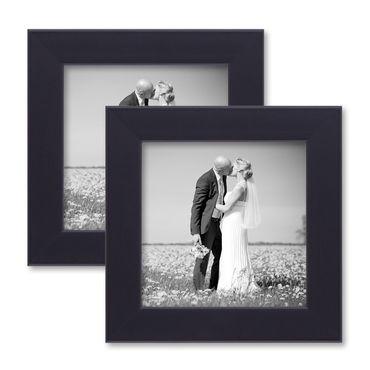 2er Set Bilderrahmen 10x10 cm Schwarz Modern aus MDF mit Glasscheibe und Zubehör / Fotorahmen