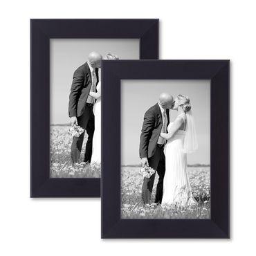 2er Set Bilderrahmen 10x15 cm Schwarz Modern aus MDF mit Glasscheibe und Zubehör / Fotorahmen
