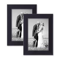 2er Set Bilderrahmen 10x15 cm Schwarz Modern aus MDF mit Glasscheibe und Zubehör / Fotorahmen  – Bild 1