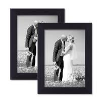 2er Set Bilderrahmen 13x18 cm Schwarz Modern aus MDF mit Glasscheibe und Zubehör / Fotorahmen
