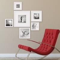 6er Set Bilderrahmen Weiss Modern Quadratisch aus MDF mit Glasscheibe und Zubehör / Fotorahmen