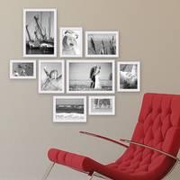 9er Set Landhaus-Bilderrahmen Weiss Massivholz-Rahmen mit Glasscheibe und Zubehör  / 10x15, 13x18, 15x20 und 20x30 cm / Fotorahmen – Bild 4