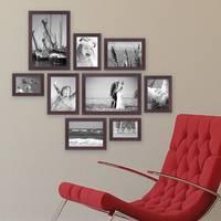 9er Set Bilderrahmen Nuss Modern Massivholz-Rahmen mit Glasscheibe und Zubehör  / 10x15, 13x18, 15x20 und 20x30 cm / Fotorahmen – Bild 4