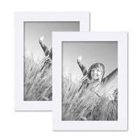 2er Set Bilderrahmen 13x18 cm Weiss Modern aus MDF mit Glasscheibe und Zubehör / Fotorahmen  – Bild 1