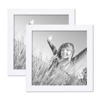 2er Set Bilderrahmen 20x20 cm Weiss Modern aus MDF mit Glasscheibe und Zubehör / Fotorahmen
