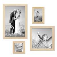 4er-Set Bilderrahmen Kiefer Natur Modern Massivholz-Rahmen je einmal 10x10 10x15 20x20 und 20x30 cm inkl. Zubehör zur Gestaltung einer Bilderwand oder Fotowand / Fotorahmen
