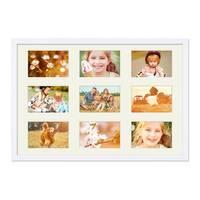 Fotocollage-Bilderrahmen 40x60 cm Modern Weiss Collagerahmen Bildergalerie-Rahmen für 9 Bilder Wechselrahmen mit Passepartout – Bild 1