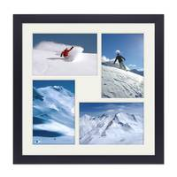 Fotocollage-Bilderrahmen 30x30 cm Modern Schwarz Collagerahmen Bildergalerie-Rahmen für 4 Bilder Wechselrahmen mit Passepartout – Bild 1