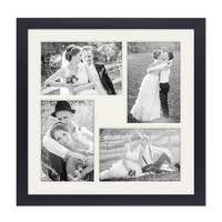Fotocollage-Bilderrahmen 30x30 cm Modern Schwarz Collagerahmen Bildergalerie-Rahmen für 4 Bilder Wechselrahmen mit Passepartout – Bild 2