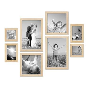 8er-Set Bilderrahmen Kiefer Natur Modern Massivholz-Rahmen je 2 mal 10x10 10x15 20x20 und 20x30 cm inkl. Zubehör zur Gestaltung einer Bilderwand oder Fotowand / Fotorahmen