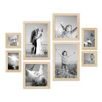 8er-Set Bilderrahmen Kiefer Natur Modern Massivholz-Rahmen je 2 mal 10x10 10x15 20x20 und 20x30 cm inkl. Zubehör zur Gestaltung einer Bilderwand oder Fotowand / Fotorahmen  – Bild 1
