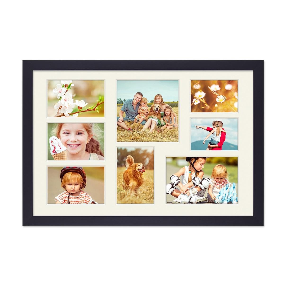 fotocollage bilderrahmen 30x45 cm modern schwarz collagerahmen bildergalerie rahmen f r 8 bilder. Black Bedroom Furniture Sets. Home Design Ideas