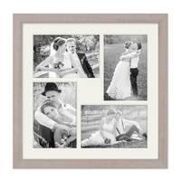 Fotocollage-Bilderrahmen 30x30 cm Modern Sonoma Eiche Hell Collagerahmen Bildergalerie-Rahmen für 4 Bilder Wechselrahmen mit Passepartout – Bild 2