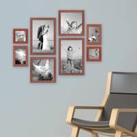8er-Set Bilderrahmen Kirsche Modern Massivholz-Rahmen je 2 mal 10x10, 10x15, 20x20 und 20x30 cm, inkl. Zubehör, zur Gestaltung einer Bilderwand oder Fotowand / Fotorahmen   – Bild 2