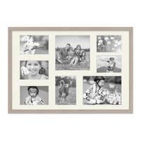 Fotocollage-Bilderrahmen 40x60 cm Modern Sonoma Eiche Hell Collagerahmen Bildergalerie-Rahmen für 8 Bilder Wechselrahmen mit Passepartout – Bild 2