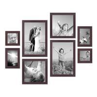 8er-Set Bilderrahmen Nuss Modern Massivholz-Rahmen je 2 mal 10x10 10x15 20x20 und 20x30 cm inkl. Zubehör zur Gestaltung einer Bilderwand oder Fotowand / Fotorahmen