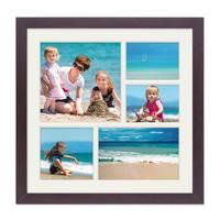 Fotocollage-Bilderrahmen 30x30 cm Modern Nuss Collagerahmen Bildergalerie-Rahmen für 5 Bilder Wechselrahmen mit Passepartout – Bild 1