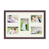 Fotocollage-Bilderrahmen 30x45 cm Modern Nuss Collagerahmen Bildergalerie-Rahmen für 5 Bilder Wechselrahmen mit Passepartout – Bild 3
