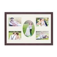 Fotocollage-Bilderrahmen 30x45 cm Modern Nuss Collagerahmen Bildergalerie-Rahmen für 5 Bilder mit Oval Wechselrahmen mit Passepartout – Bild 1